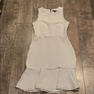 Flounce checkered b&w Banana Republic dress
